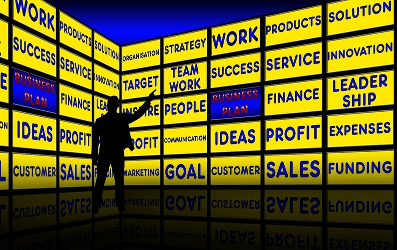 business plan on big screen with man pointing | small business | Peace Evolution