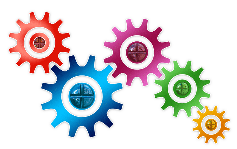 colourful interlinked cogs | make money from home | Peace Evolution
