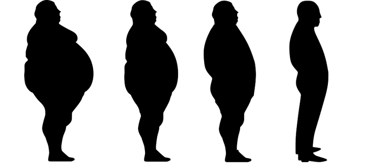 silhouette of large man becoming slimmer | autophagy healing | Peace Evolution