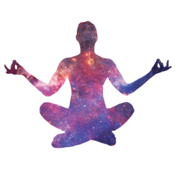 silhouette of psychedelic person in yoga pose | life university | Peace Evolution